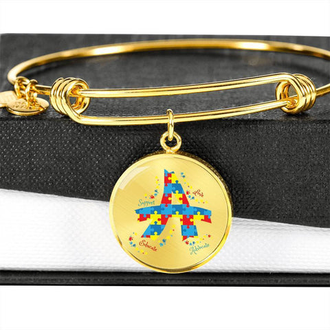 Image of Support & Advocate Autism Luxury Bangle / Bracelet - Print Fads
