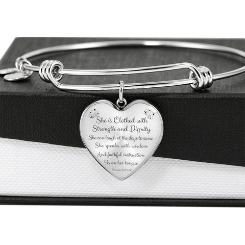 Image of Proverbs 31:25-26 Bracelet - Print Fads