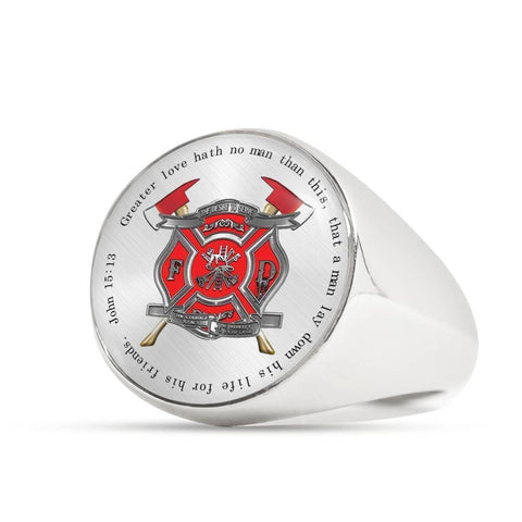 Greater Love Firefighter Ring - Print Fads