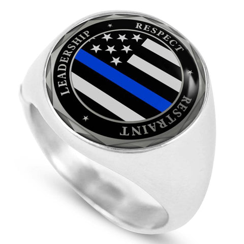 Police Law Enforcement Thin Blue Line Signet Ring