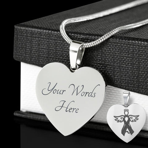 Engraved Autism Angel Luxury Heart Pendant Necklace - Print Fads