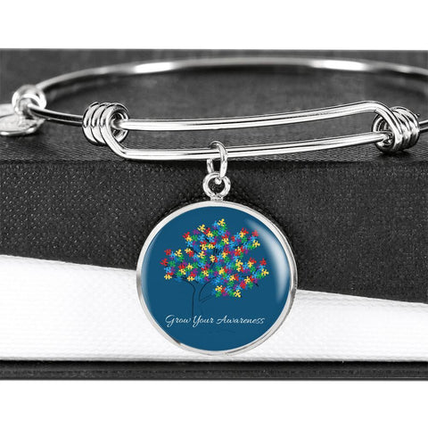 Stunning Grow Your Awareness 18k Gold  or Stainless Luxury Bangle - Print Fads