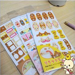 2 Sheets Adorable Rilakkuma Bookmark/Label Stickers