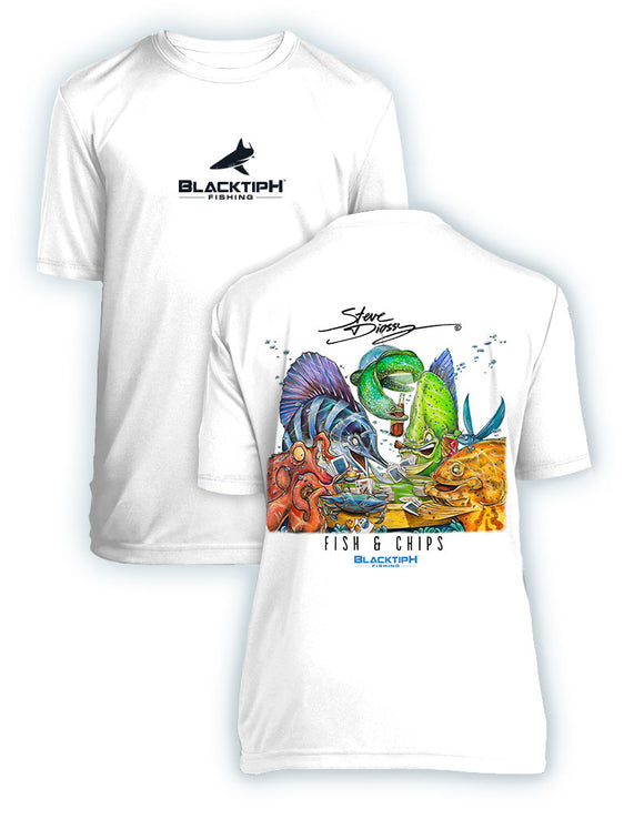 BLACKTIPH YOUTH PERFORMANCE SHORT SLEEVE FISH N CHIPS FEATURING STEVE DIOSSY ART