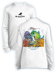 BlacktipH Youth Performance Long Sleeve Fish N Chips Featuring Steve Diossy Art