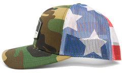 BlacktipH 4th of July Camo with American Flag Snapback Fishing Hat - Back View