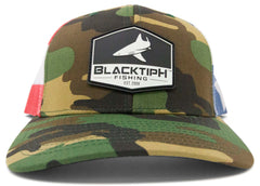 BlacktipH 4th of July Camo with American Flag Snapback Fishing Hat - Front View