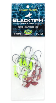BlacktipH Classic Bundle Jig Heads with White Red and Chartreuse Options - One Quarter Ounce