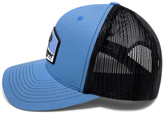 BlacktipH Columbia Blue Hat with Rubber Patch showing Shark and Logo - Back View