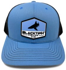 BlacktipH Columbia Blue Hat with Rubber Patch showing Shark and Logo - Front View