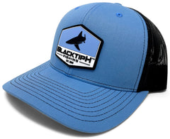 BlacktipH Columbia Blue Hat with Rubber Patch showing Shark and Logo - Side View