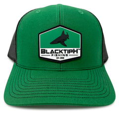 BlacktipH Green Hat with Rubber Patch showing Shark and Logo - Front View