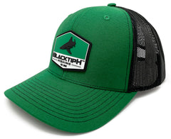 BlacktipH Green Hat with Rubber Patch showing Shark and Logo - Side View