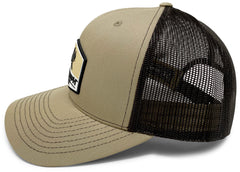 BlacktipH Khaki Hat with Rubber Patch showing Shark and Logo - Back View