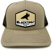 BlacktipH Khaki Hat with Rubber Patch showing Shark and Logo - Front View