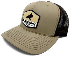 BlacktipH Khaki Hat with Rubber Patch showing Shark and Logo - Side View