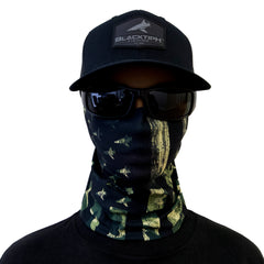 BlacktipH Neck Scarf Face Shield Headgear SPF Sun Protection - Military Camo Flag