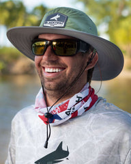 Joshua Jorgensen wearing BlacktipH White Bucket Fishing Hat with Rubber Patch