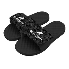 BlacktipH Black/Patterned Slides- Side View