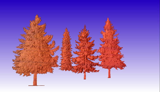 Pine Trees Vector Relief Models 3D Clipart -  3D CNC Vector Art