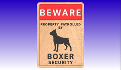 Boxer Dog Security Sign Vector Art Package -  3D CNC Vector Art