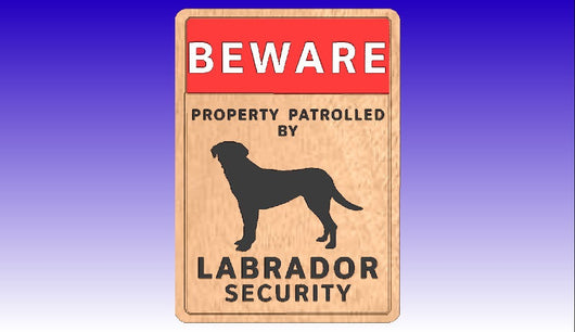 Labrador Dog Security Sign Vector Art -  3D CNC Vector Art