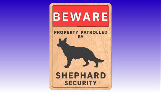 German Shephard Security Sign Vector Art Model -  3D CNC Vector Art
