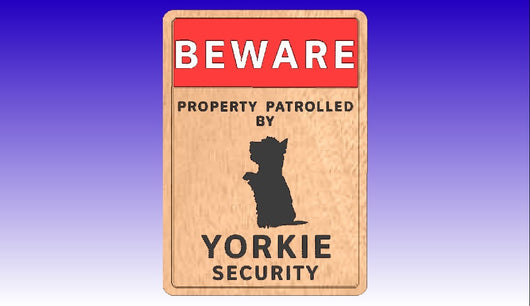 Yorkie Security Sign Vector Art Package -  3D CNC Vector Art