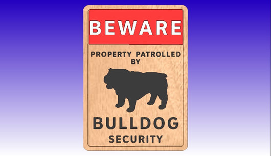 Bulldog Security Sign Vector Art Package -  3D CNC Vector Art