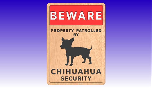Chihuahua Dog Security Sign Vector Art Model -  3D CNC Vector Art