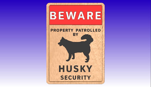 Husky Dog Security Sign Vector Art Model -  3D CNC Vector Art