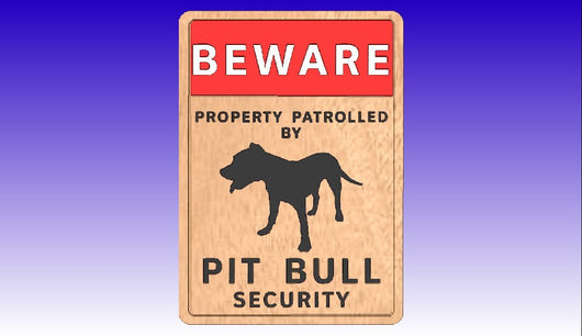 Pit Bull Security Sign Vector Art Model -  3D CNC Vector Art
