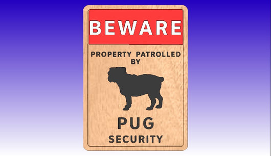 Pug Dog Security Sign Vector Relief Model -  3D CNC Vector Art