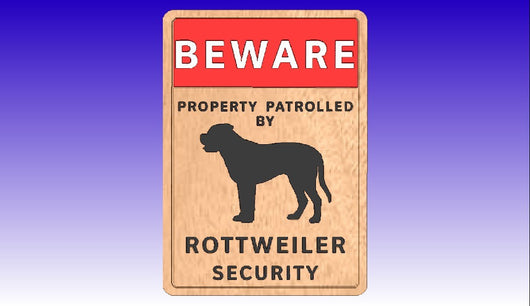Rottweiler Security Sign 3D Vector Model -  3D CNC Vector Art