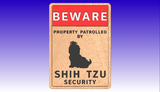 Shih Tzu Security Sign -  3D CNC Vector Art