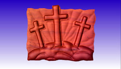 Crosses on Hill 3D Vector Art -  3D CNC Vector Art