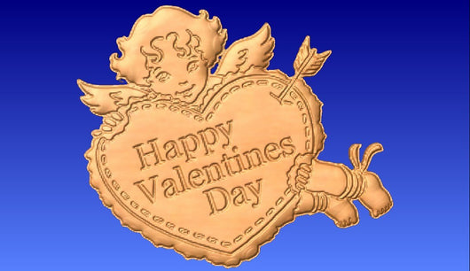 Cupid Holding a Heart Relief Model -  3D CNC Vector Art