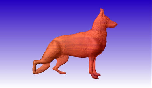 German Shepherd Vector Relief Model -  3D CNC Vector Art