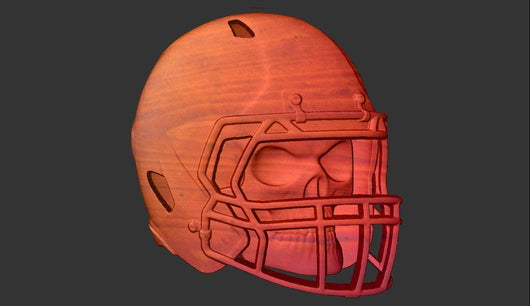 Skull in Football Helmet -  3D CNC Vector Art