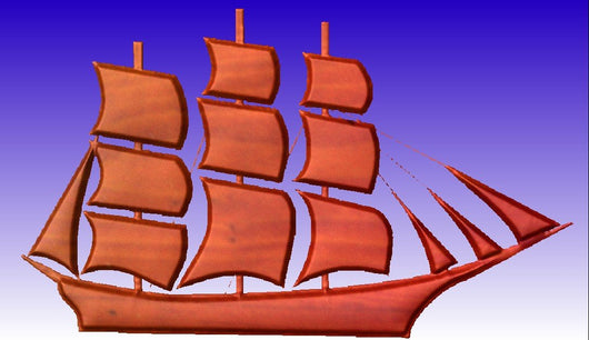 Big Sailboat CNC Model -  3D CNC Vector Art