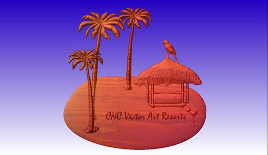 Tropical Theme Sign Pack cnc models -  3D CNC Vector Art