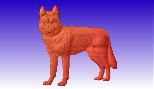 Husky Dog Vector Relief Model -  3D CNC Vector Art