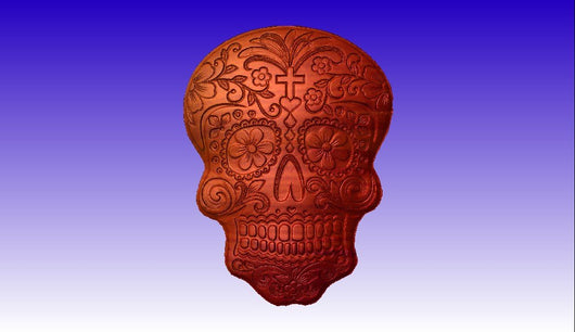 Sugar Skull Vector Relief Model -  3D CNC Vector Art