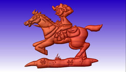 Cowboy on Horse Vector Art Model -  3D CNC Vector Art