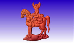 Cowboy on Horse No. 3 Vector Model -  3D CNC Vector Art