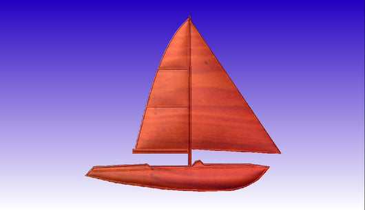 Small Sailboat Vector Relief Model -  3D CNC Vector Art