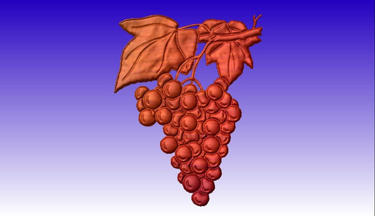 Grapes on a Vine Vector Art Relief Model -  3D CNC Vector Art