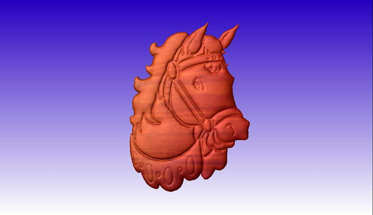 Horse 3D Vector Relief Sign Clipart -  3D CNC Vector Art