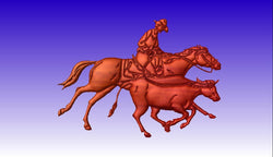 Cowboy Roping a Calf Vector Relief Model -  3D CNC Vector Art