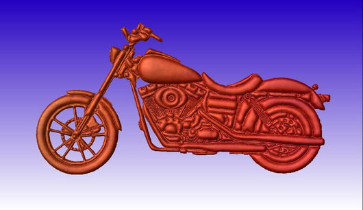 Motorcycle No 2 Vector Art Relief Model -  3D CNC Vector Art